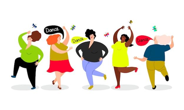 Conjunto de mulheres dançando engraçadas