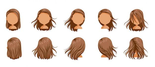 Conjunto de mulheres de cabelo soprado. cabelo de menina pequeno conjunto de fundido. cabelos longos soprados de mulheres.