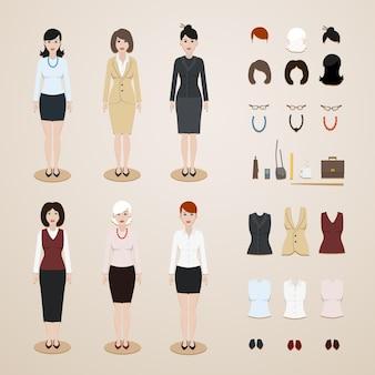Conjunto de mulheres de escritório