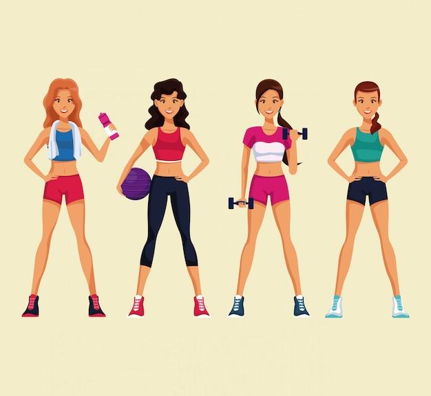 Conjunto de mulheres de fitness com desgaste do esporte