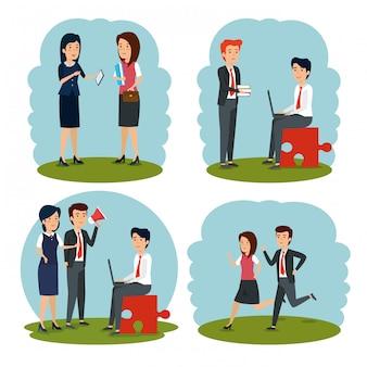 Conjunto de mulheres de negócios e empresários trabalhando