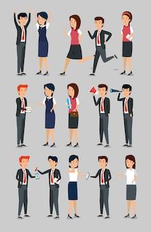 Conjunto de mulheres de negócios e empresários