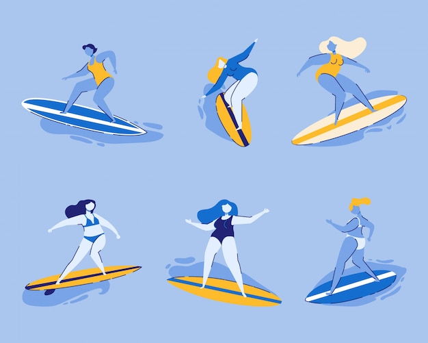 Conjunto de mulheres de surf isolado em azul