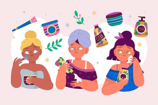 Conjunto de mulheres desenhadas fazendo sua rotina de cuidados com a pele