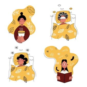 Conjunto de mulheres dos desenhos animados. a menina está dormindo, tomando café, lendo um livro