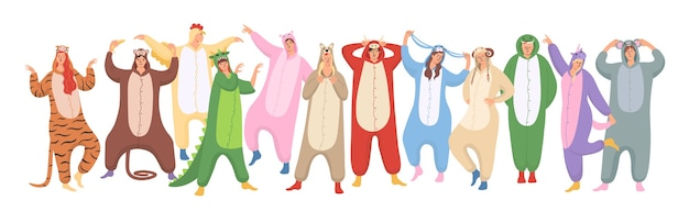Conjunto de mulheres e homens estão vestindo pijamas de animais no halloween ou na festa de pijama de ano novo.
