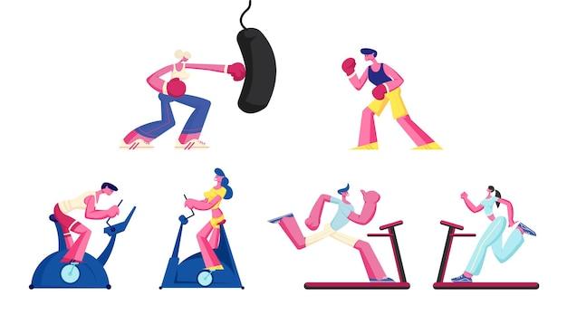 Conjunto de mulheres e homens treinando na academia na bicicleta ergométrica e no saco de pancadas. ilustração plana dos desenhos animados