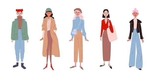 Conjunto de mulheres elegantes e modernas, vestidas com roupas casuais