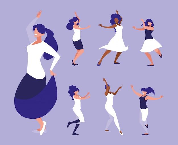 Conjunto de mulheres em pose de dança, festa, clube de dança
