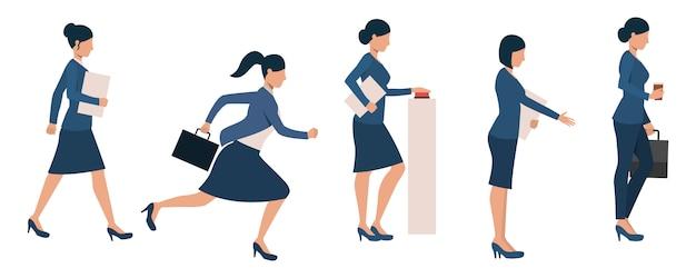 Conjunto de mulheres empresárias ocupadas com diferentes atividades
