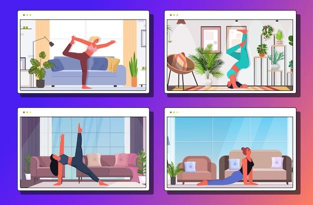 Conjunto de mulheres fazendo exercícios de ioga, treinamento de aptidão, estilo de vida saudável, meninas fazendo exercícios em casa coleção de janelas do navegador da web