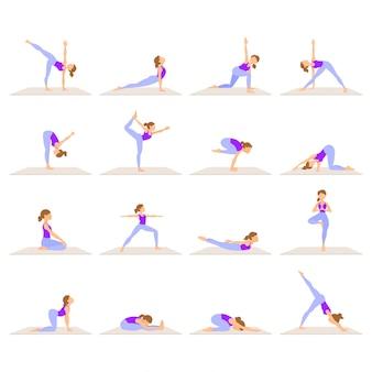 Conjunto de mulheres fazendo yoga