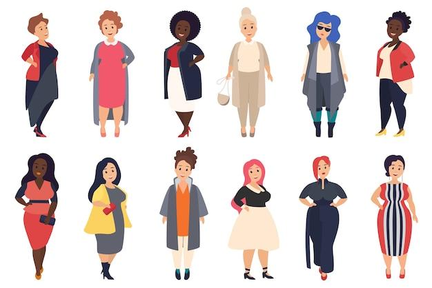 Conjunto de mulheres gordas e cheias de curvas bonitas e elegantes com roupas casuais da moda