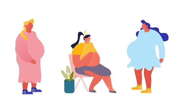 Conjunto de mulheres grávidas felizes
