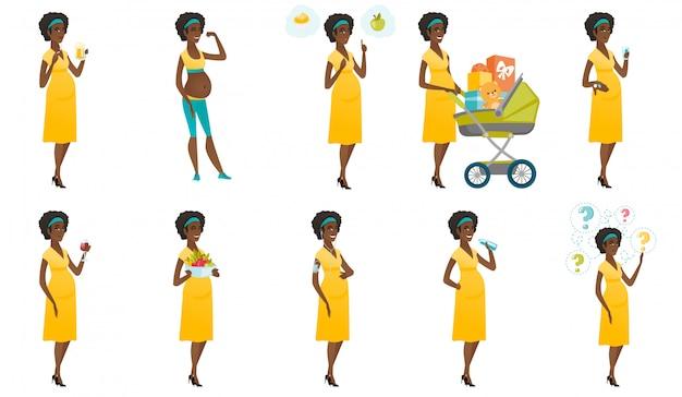 Conjunto de mulheres grávidas.