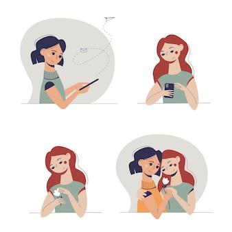 Conjunto de mulheres jovens apaixonadas dos desenhos animados bonitos.