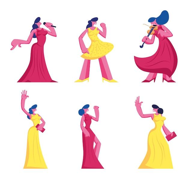 Conjunto de mulheres jovens em belos vestidos, isolado no fundo branco. ilustração plana dos desenhos animados