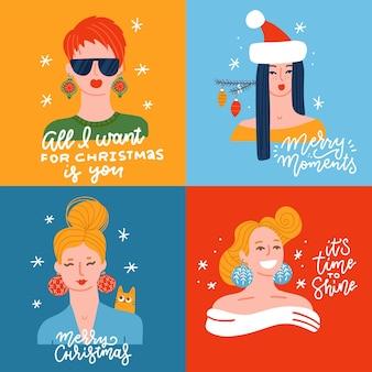 Conjunto de mulheres jovens vestidas para o natal festivo feliz natal e um feliz ano novo cartão meninas ...
