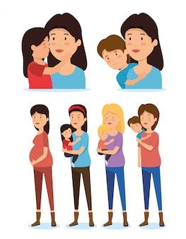 Conjunto de mulheres mães com filho e filha