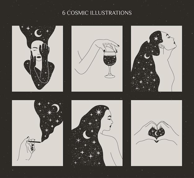 Conjunto de mulheres místicas e lua e estrelas, mãos femininas com um copo de vinho e cigarro. ilustrações vetoriais