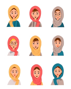 Conjunto de mulheres muçulmanas em um lenço, burca