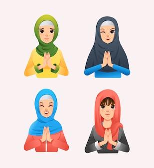 Conjunto de mulheres muçulmanas vestindo hijab com estilo diferente e ilustração diferente da expressão facial
