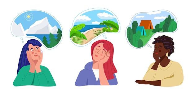 Conjunto de mulheres pensando em viajar em um resort de praia, acampar, férias nas montanhas