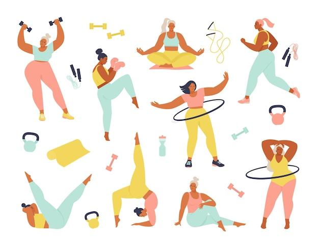 Conjunto de mulheres praticando esportes