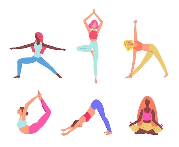 Conjunto de mulheres praticando ioga