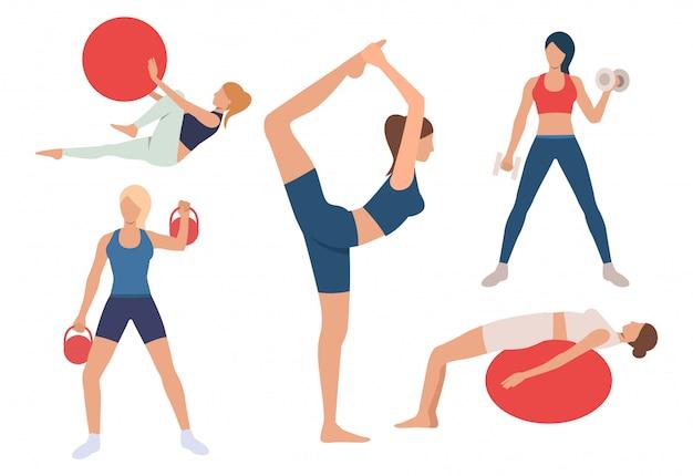 Conjunto de mulheres que treinam corpos no ginásio. meninas, exercitar, com, bola