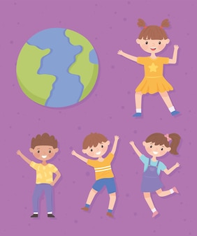 Conjunto de mundo e crianças
