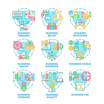 Conjunto de mundo empresarial