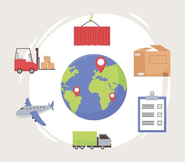 Conjunto de mundo logístico Vetor Premium