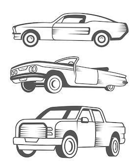 Conjunto de muscle car, carro antigo e pick-up