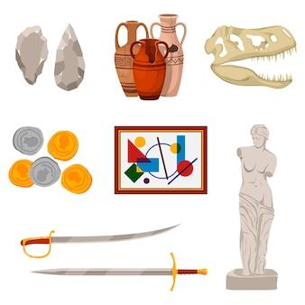 Conjunto de museu com vagem e ferramentas de vários períodos históricos: ferramentas de pedra, ânfora antiga, crânio de dinossauro, moedas antigas, quadro, espadas e estátua. museu de exposição de excursão