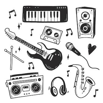 Conjunto de música doodle desenhado à mão