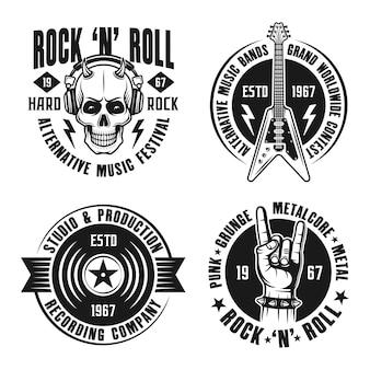Conjunto de música rock com emblemas vintage