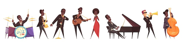 Conjunto de músicos de jazz de caracteres humanos de estilo cartoon isolado de pessoas tocando vários instrumentos musicais