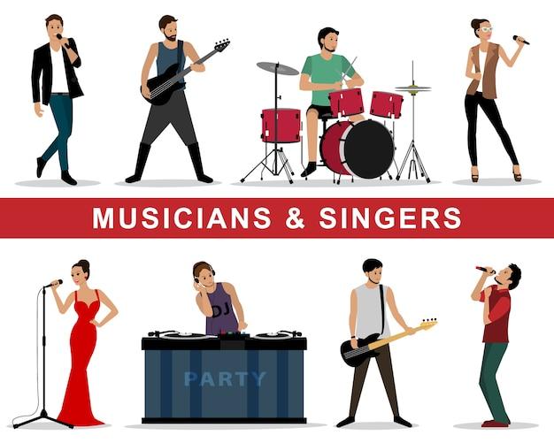 Conjunto de músicos e cantores: guitarristas, bateristas, cantores, dj