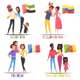 Conjunto de nacionalidades de famílias
