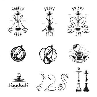 Conjunto de narguilé etiquetas, emblemas e elementos.