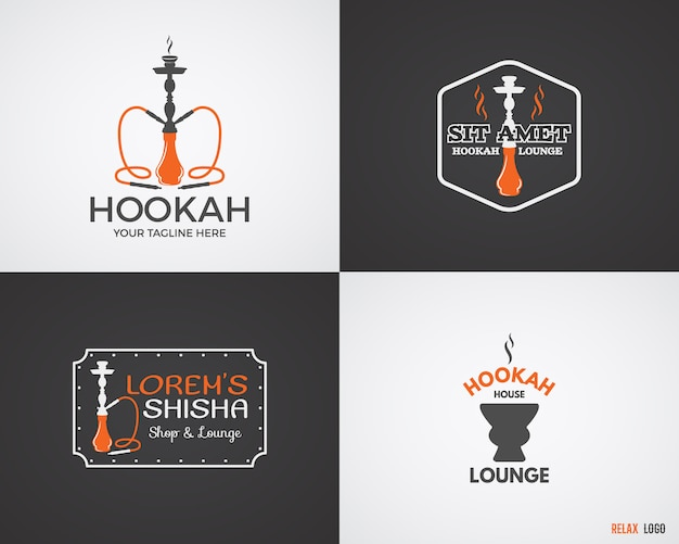 Conjunto de narguilé relaxar logotipos em 2 variações de cor. logotipo de shisha vintage. emblema de café do salão. bar árabe ou casa, insígnias de loja. paleta da moda.
