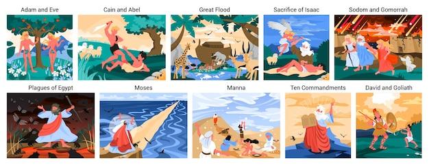 Conjunto de narrativas da bíblia. adão e eva, noé e moisés, davi e golias. personagem da bíblia cristã. história das escrituras. .