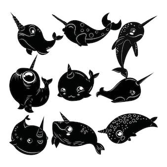 Conjunto de narvais dos desenhos animados. coleção de narvais preto e brancos. tatuagem.