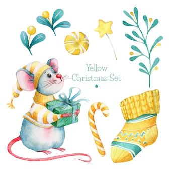 Conjunto de natal amarelo mão desenhada