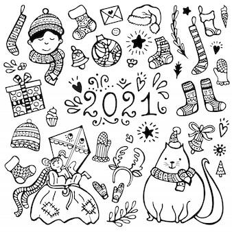 Conjunto de natal bonito desenhados à mão