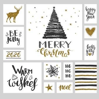 Conjunto de natal com adesivos e banners pretos e dourados conjunto de ilustrações de natal