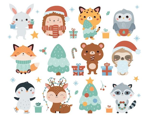 Conjunto de natal com animais bonitos dos desenhos animados kawaii presentes e árvore de natal