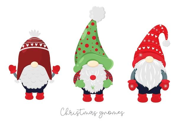 Conjunto de natal com gnomos escandinavos ilustração de gnomos de natal