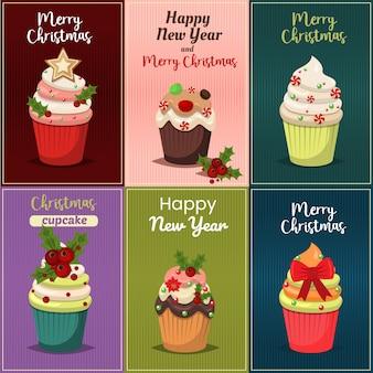 Conjunto de natal com ilustração de cupcakes e muffins